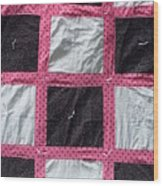 Pink White And Black Dot Quilt Wood Print by Brianna Emily Thompson