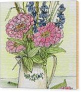 Pink Zinneas Wood Print