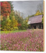 Pinks In The Pasture Wood Print