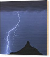 Pinnacle Peak Lightning  Wood Print