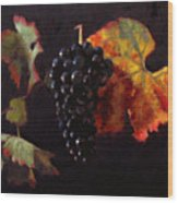 Pinot Noir Grape With Autumn Leaves Wood Print