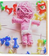 Pins And Needles Mummy Voodoo Doll Wood Print
