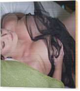 Pinup Model Alicia Maria Rose In Black Lace Wood Print