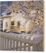 Pioneer Home At Christmas Time Wood Print by Utah Images
