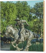 Pioneer Plaza Cattle Drive Monument Dallas Wood Print