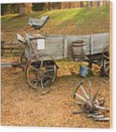 Pioneer Wagon And Broken Wheel Wood Print