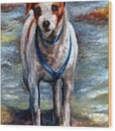 Piper On The Beach Wood Print by Melissa J Szymanski