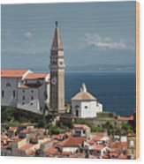Piran Slovenia With St George's Cathedral Belfry And Baptistery  Wood Print