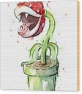 Piranha Plant Watercolor Wood Print