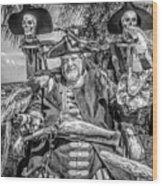Pirate Captain And Parrots Black And White Wood Print