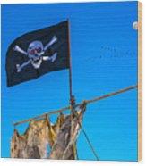 Pirate Flag And Moon Wood Print