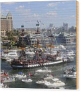 Pirate Ship And Flotilla Wood Print