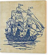 Pirate Ship Artwork - Vintage Wood Print