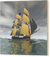 Pirate Ship On The High Seas Wood Print