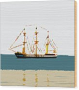 Pirate Ship On The Horizon Wood Print