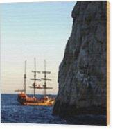 Pirate Ship Sunset Sea Of Cortez Cabo Wood Print