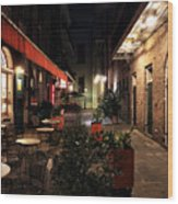 Pirates Alley At Night Wood Print