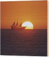 Pirateship Sunset Wood Print