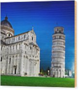 Pisa Cathedral With The Leaning Tower Of Pisa, Tuscany, Italy At Night Wood Print