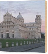Pisa Sunset Wood Print
