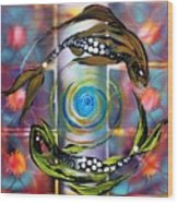 Pisces With Six Fence Lotus Wood Print