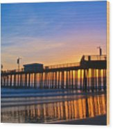 Pismo Beach and Pier Sunset Wood Print