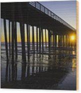 Pismo Sunset Wharf Wood Print