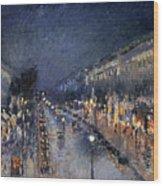 Pissarro: Paris At Night Wood Print