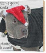 Pit Bull Christmas Two Wood Print