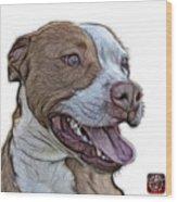 Pit Bull Fractal Pop Art - 7773 - F - Wb Wood Print