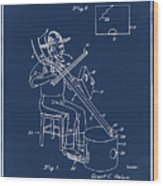 Pitch Fork Fiddle And Drum Patent 1936 - Blue Wood Print