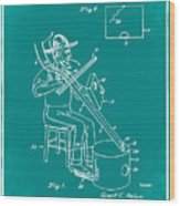 Pitch Fork Fiddle And Drum Patent 1936 - Green Wood Print