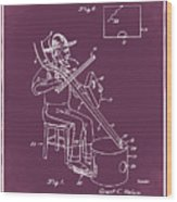 Pitch Fork Fiddle And Drum Patent 1936 - Red Wood Print