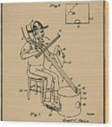 Pitch Fork Fiddle And Drum Patent 1936 - Sepia Wood Print
