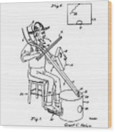 Pitch Fork Fiddle And Drum Patent 1936 - White Wood Print