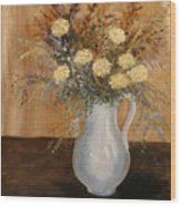 Pitcher Of Mums Wood Print