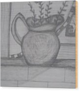Pitcher With Flowers Wood Print