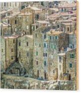 Pitigliano Houses Closeup Grosseto Tuscany Wood Print