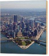 Pittsburgh Aerial Digital Painting Wood Print
