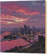 Pittsburgh Dawn Wood Print by Jennifer Grover