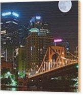 Pittsburgh Full Moon Panoramic Wood Print