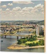 Pittsburgh Hdr Wood Print by Arthur Herold Jr