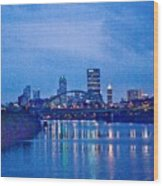 Pittsburgh In Blue Wood Print