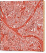 Pittsburgh Map Red Wood Print