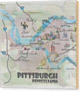Pittsburgh Pennsylvania Fine Art Print Retro Vintage Map With Touristic Highlights Wood Print