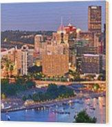 Pittsburgh Pennsylvania Skyline At Dusk Sunset Panorama Wood Print