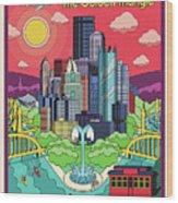 Pittsburgh Poster - Pop Art - Travel Wood Print