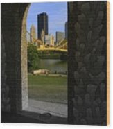 Pittsburgh Skyline, North Shore Arch, Pittsburgh, Pa  Wood Print