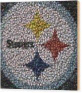 Pittsburgh Steelers  Bottle Cap Mosaic Wood Print by Paul Van Scott