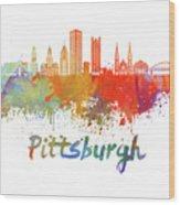 Pittsburgh V2 Skyline In Watercolor Wood Print